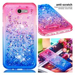 Diamond Frame Liquid Glitter Quicksand Sequins Phone Case for Samsung Galaxy J3 2017 Emerge US Edition - Pink Blue