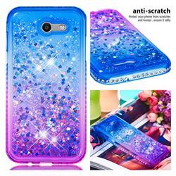 Diamond Frame Liquid Glitter Quicksand Sequins Phone Case for Samsung Galaxy J3 2017 Emerge US Edition - Blue Purple