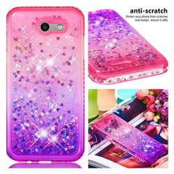 Diamond Frame Liquid Glitter Quicksand Sequins Phone Case for Samsung Galaxy J3 2017 Emerge US Edition - Pink Purple
