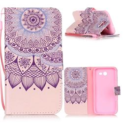 Purple Sunflower Leather Wallet Phone Case for Samsung Galaxy J3 2017 Emerge