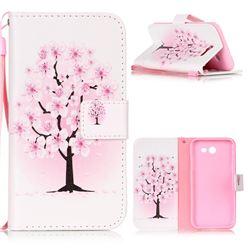 Peach Flower Leather Wallet Phone Case for Samsung Galaxy J3 2017 Emerge
