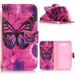 Black Butterfly Leather Wallet Phone Case for Samsung Galaxy J3 2017 Emerge
