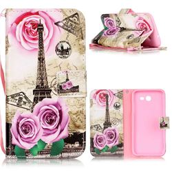 Rose Eiffel Tower Leather Wallet Phone Case for Samsung Galaxy J3 2017 Emerge