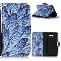Blue Feather Leather Wallet Phone Case for Samsung Galaxy J3 2017 Emerge