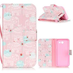Pink Elephant Leather Wallet Phone Case for Samsung Galaxy J3 2017 Emerge