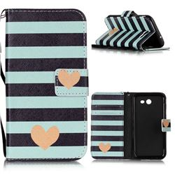 Blue Stripe Heart Leather Wallet Phone Case for Samsung Galaxy J3 2017 Emerge
