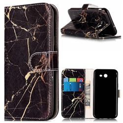 Black Gold Marble PU Leather Wallet Case for Samsung Galaxy J3 2017 Emerge