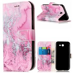 Pink Seawater PU Leather Wallet Case for Samsung Galaxy J3 2017 Emerge