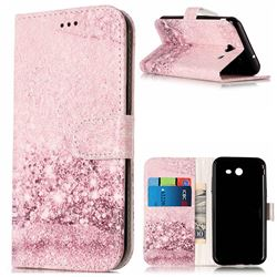Glittering Rose Gold PU Leather Wallet Case for Samsung Galaxy J3 2017 Emerge