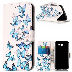 Blue Vivid Butterflies PU Leather Wallet Case for Samsung Galaxy J3 2017 Emerge