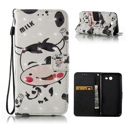 Milk Cow 3D Painted Leather Wallet Case for Samsung Galaxy J3 2017 Emerge
