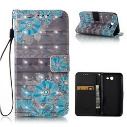 Blue Flower 3D Painted Leather Wallet Case for Samsung Galaxy J3 2017 Emerge