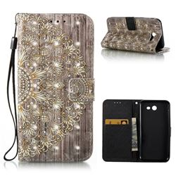 Golden Flower 3D Painted Leather Wallet Case for Samsung Galaxy J3 2017 Emerge