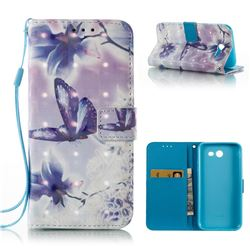 Butterfly Flower 3D Painted Leather Wallet Case for Samsung Galaxy J3 2017 Emerge