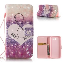 Heart Friend 3D Painted Leather Wallet Case for Samsung Galaxy J3 2017 Emerge