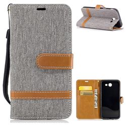 Jeans Cowboy Denim Leather Wallet Case for Samsung Galaxy J3 2017 Emerge - Gray