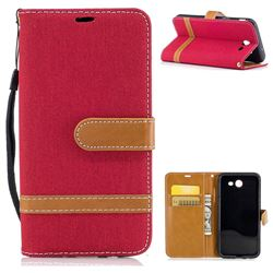 Jeans Cowboy Denim Leather Wallet Case for Samsung Galaxy J3 2017 Emerge - Red