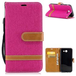 Jeans Cowboy Denim Leather Wallet Case for Samsung Galaxy J3 2017 Emerge - Rose