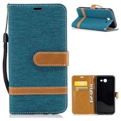 Jeans Cowboy Denim Leather Wallet Case for Samsung Galaxy J3 2017 Emerge - Green