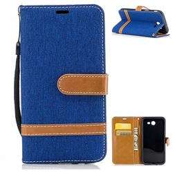 Jeans Cowboy Denim Leather Wallet Case for Samsung Galaxy J3 2017 Emerge - Sapphire