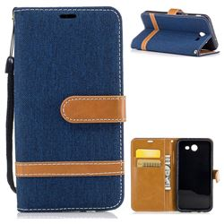 Jeans Cowboy Denim Leather Wallet Case for Samsung Galaxy J3 2017 Emerge - Dark Blue