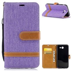 Jeans Cowboy Denim Leather Wallet Case for Samsung Galaxy J3 2017 Emerge - Purple