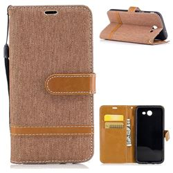 Jeans Cowboy Denim Leather Wallet Case for Samsung Galaxy J3 2017 Emerge - Brown