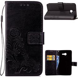 Embossing Imprint Four-Leaf Clover Leather Wallet Case for Samsung Galaxy J3 2017 Emerge - Black