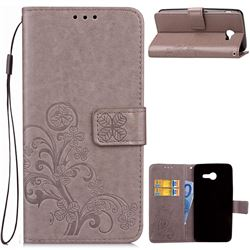 Embossing Imprint Four-Leaf Clover Leather Wallet Case for Samsung Galaxy J3 2017 Emerge - Grey