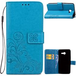 Embossing Imprint Four-Leaf Clover Leather Wallet Case for Samsung Galaxy J3 2017 Emerge - Blue