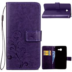 Embossing Imprint Four-Leaf Clover Leather Wallet Case for Samsung Galaxy J3 2017 Emerge - Purple