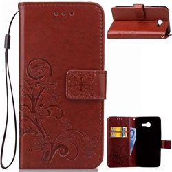 Embossing Imprint Four-Leaf Clover Leather Wallet Case for Samsung Galaxy J3 2017 Emerge - Brown