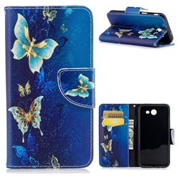 Golden Butterflies Leather Wallet Case for Samsung Galaxy J3 2017 Emerge