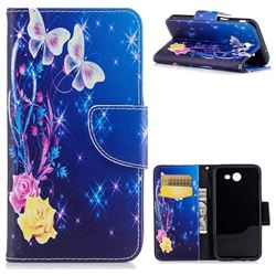 Yellow Flower Butterfly Leather Wallet Case for Samsung Galaxy J3 2017 Emerge