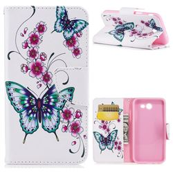 Peach Butterfly Leather Wallet Case for Samsung Galaxy J3 2017 Emerge