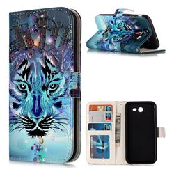 Ice Wolf 3D Relief Oil PU Leather Wallet Case for Samsung Galaxy J3 2017 Emerge US Edition