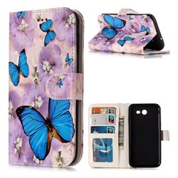 Purple Flowers Butterfly 3D Relief Oil PU Leather Wallet Case for Samsung Galaxy J3 2017 Emerge US Edition