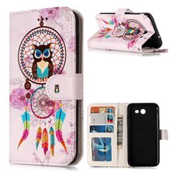 Wind Chimes Owl 3D Relief Oil PU Leather Wallet Case for Samsung Galaxy J3 2017 Emerge US Edition