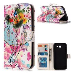 Flower Elephant 3D Relief Oil PU Leather Wallet Case for Samsung Galaxy J3 2017 Emerge US Edition