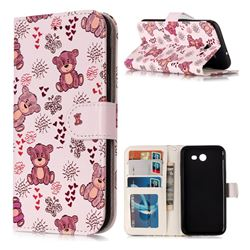 Cute Bear 3D Relief Oil PU Leather Wallet Case for Samsung Galaxy J3 2017 Emerge US Edition