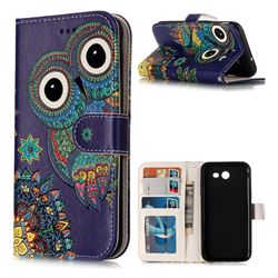Folk Owl 3D Relief Oil PU Leather Wallet Case for Samsung Galaxy J3 2017 Emerge US Edition