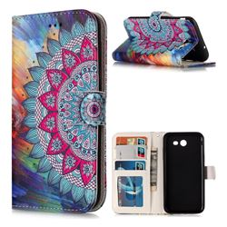 Mandala Flower 3D Relief Oil PU Leather Wallet Case for Samsung Galaxy J3 2017 Emerge US Edition