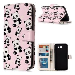 Cute Panda 3D Relief Oil PU Leather Wallet Case for Samsung Galaxy J3 2017 Emerge US Edition
