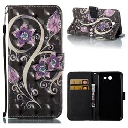 Peacock Flower 3D Painted Leather Wallet Case for Samsung Galaxy J3 2017 Emerge US Edition