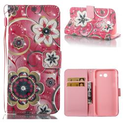 Tulip Flower 3D Painted Leather Wallet Case for Samsung Galaxy J3 2017 Emerge US Edition