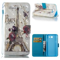 Flower Eiffel Tower 3D Painted Leather Wallet Case for Samsung Galaxy J3 2017 Emerge US Edition
