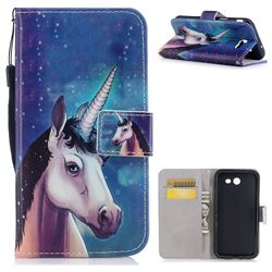 Blue Unicorn PU Leather Wallet Case for Samsung Galaxy J3 2017 Emerge US Edition