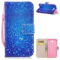 Blue Powder PU Leather Wallet Case for Samsung Galaxy J3 2017 Emerge US Edition