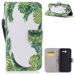 Green Leaves PU Leather Wallet Case for Samsung Galaxy J3 2017 Emerge US Edition
