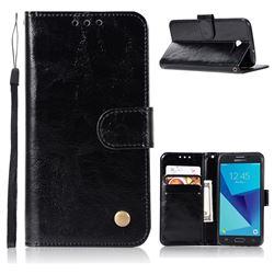 Luxury Retro Leather Wallet Case for Samsung Galaxy J3 2017 Emerge US Edition - Black
